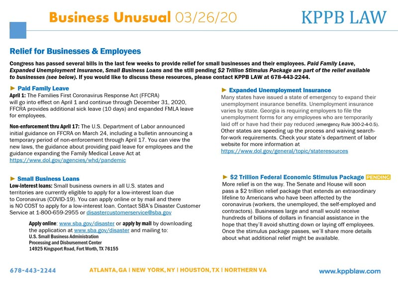 KPPB LAW — Business Unusual 03/26/20 — coronavirus updates