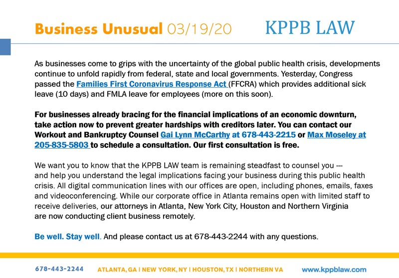 KPPB LAW — Business Unusual 03/19/20 — coronavirus updates