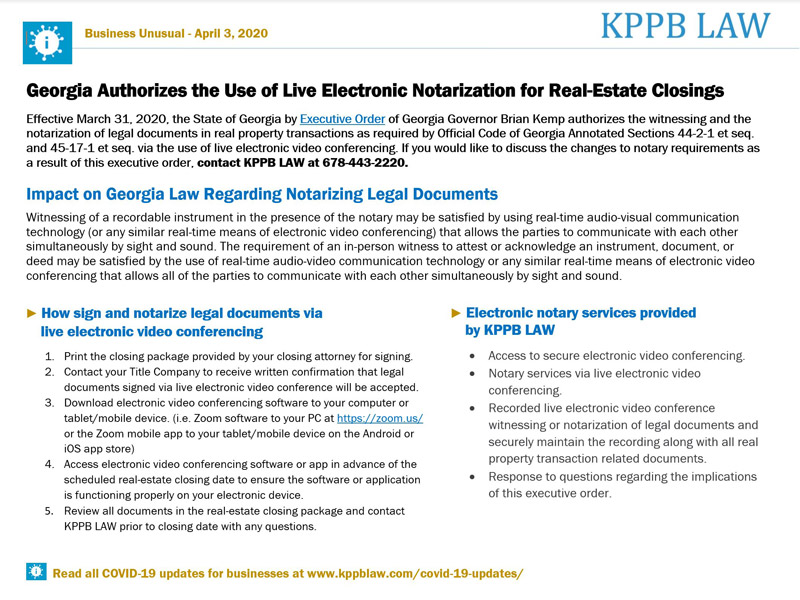 State of Georgia Authorizes the Use of Live Electronic Notarization for Real-Estate Closings in Georgia