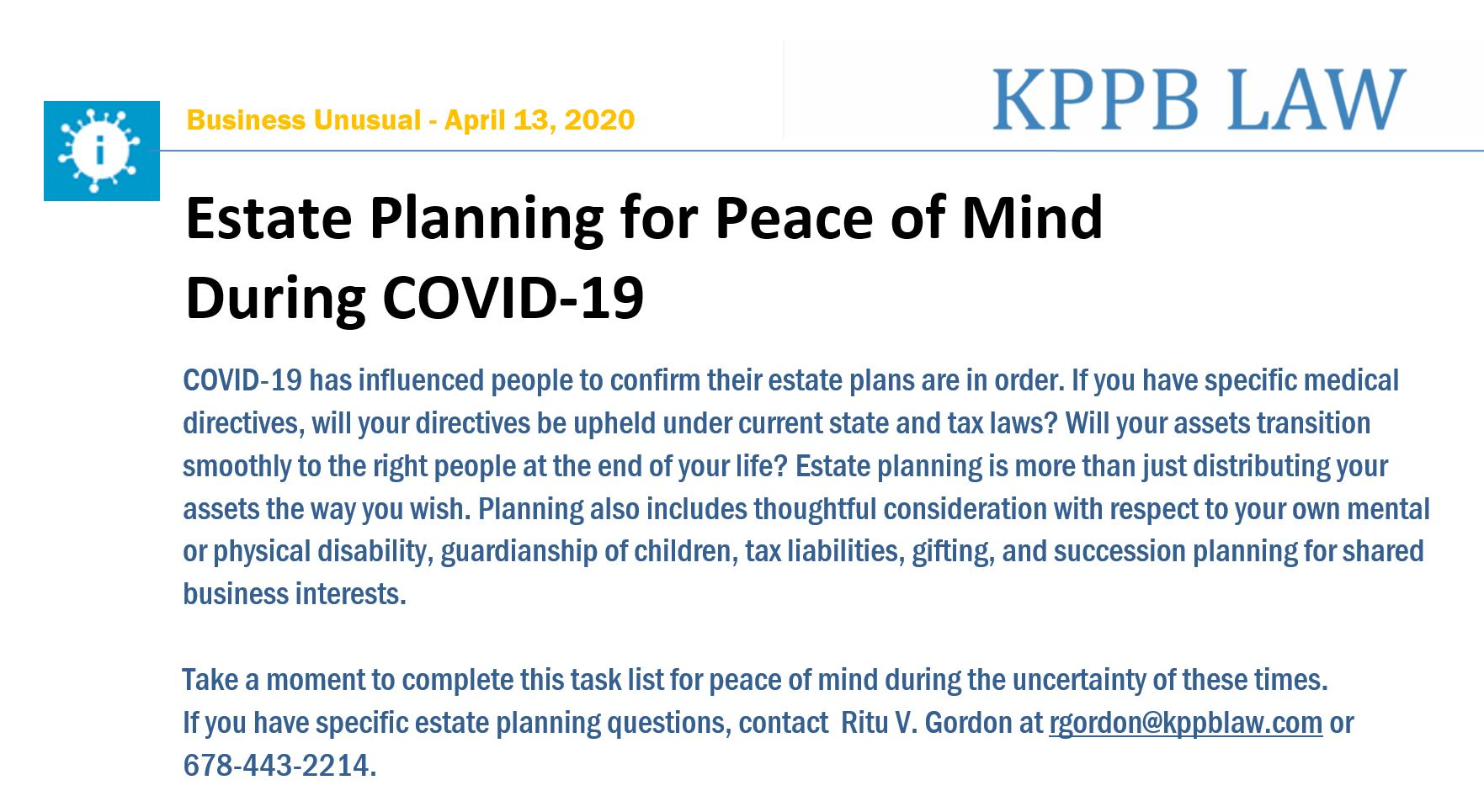 Estate Planning for Peace of Mind During COVID-19