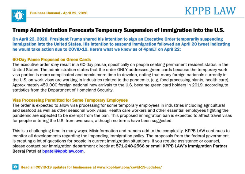 Trump Administration Forecasts Temporary Suspension of Immigration into the U.S.