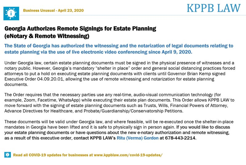 Georgia Authorizes Remote Signings for Estate Planning (eNotary & Remote Witnessing)