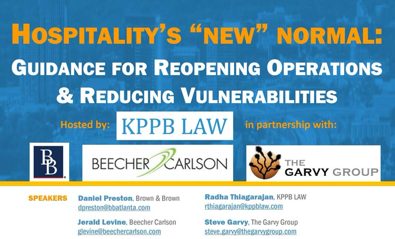 Hospitality's 'New' Normal: Guidance for Reopening Operations & Reducing Vulnerabilities